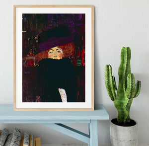 Lady with hat and feather by Klimt Framed Print - Canvas Art Rocks - 3