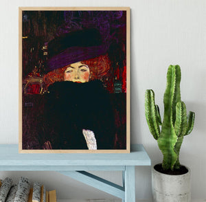 Lady with hat and feather by Klimt Framed Print - Canvas Art Rocks - 4