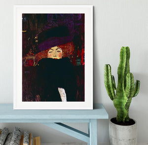 Lady with hat and feather by Klimt Framed Print - Canvas Art Rocks - 5