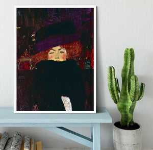 Lady with hat and feather by Klimt Framed Print - Canvas Art Rocks -6