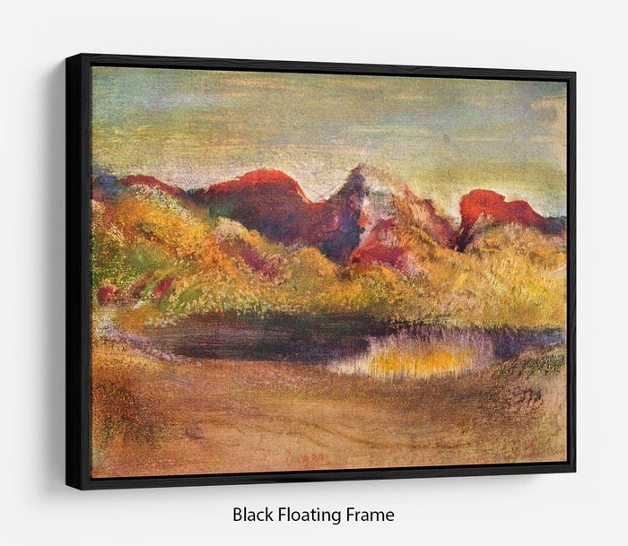 Lake and mountains by Degas Floating Frame Canvas