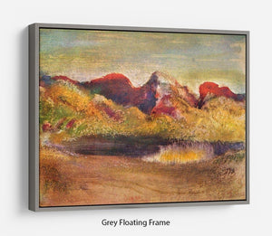 Lake and mountains by Degas Floating Frame Canvas - Canvas Art Rocks - 3