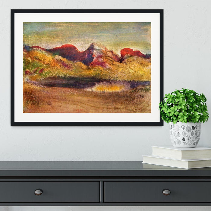 Lake and mountains by Degas Framed Print