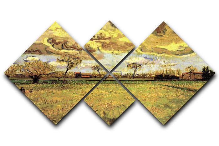 Landscape Under a Stormy Sky by Van Gogh 4 Square Multi Panel Canvas