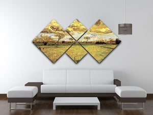 Landscape Under a Stormy Sky by Van Gogh 4 Square Multi Panel Canvas - Canvas Art Rocks - 3