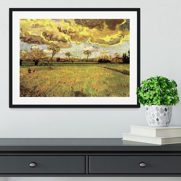 Landscape Under a Stormy Sky by Van Gogh Framed Print