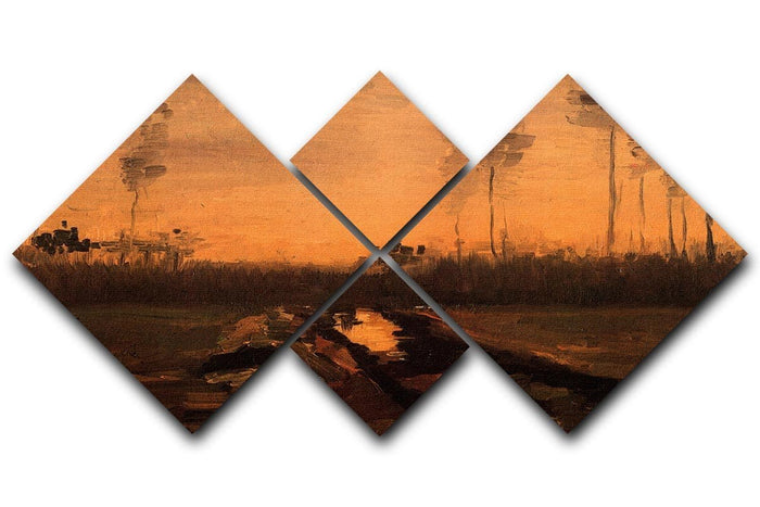 Landscape at Dusk by Van Gogh 4 Square Multi Panel Canvas