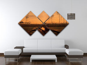 Landscape at Dusk by Van Gogh 4 Square Multi Panel Canvas - Canvas Art Rocks - 3