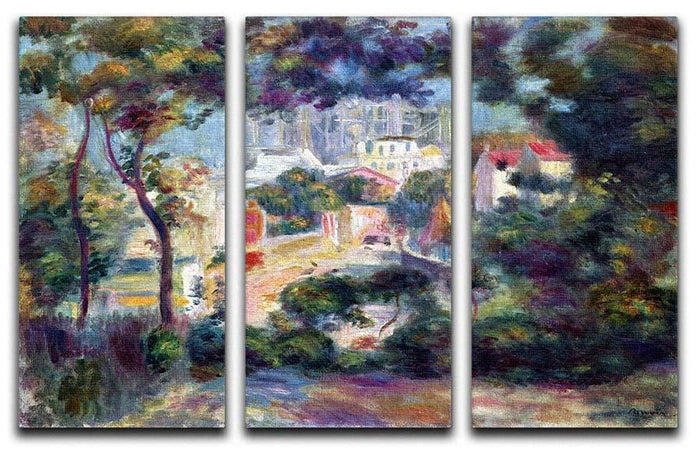 Landscape with a view of the Sacred Heart by Renoir 3 Split Panel Canvas Print