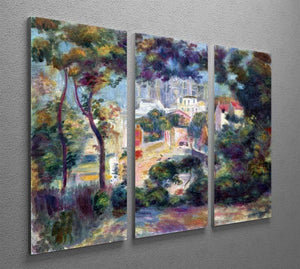 Landscape with a view of the Sacred Heart by Renoir 3 Split Panel Canvas Print - Canvas Art Rocks - 2