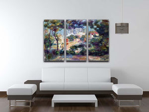 Landscape with a view of the Sacred Heart by Renoir 3 Split Panel Canvas Print - Canvas Art Rocks - 3