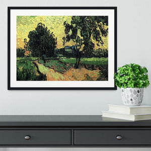 Landscape with the Chateau of Auvers at Sunset by Van Gogh Framed Print - Canvas Art Rocks - 1