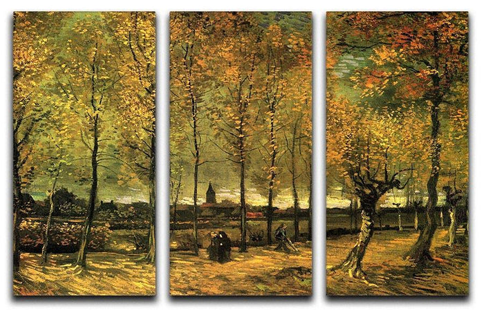 Lane with Poplars by Van Gogh 3 Split Panel Canvas Print