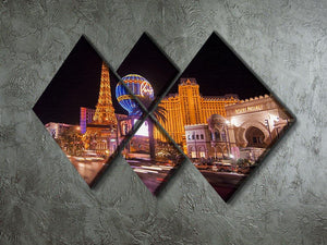 Las Vegas Blvd at Flamingo 4 Square Multi Panel Canvas  - Canvas Art Rocks - 2
