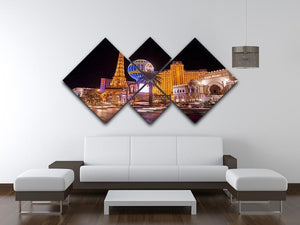 Las Vegas Blvd at Flamingo 4 Square Multi Panel Canvas  - Canvas Art Rocks - 3