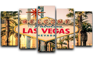 Las Vegas Welcomes You 5 Split Panel Canvas  - Canvas Art Rocks - 1