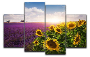 Lavender and sunflowers fields 4 Split Panel Canvas  - Canvas Art Rocks - 1