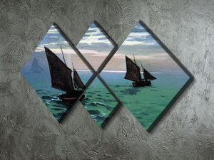 Le Havre exit the fishing boats from the port by Monet 4 Square Multi Panel Canvas - Canvas Art Rocks - 2