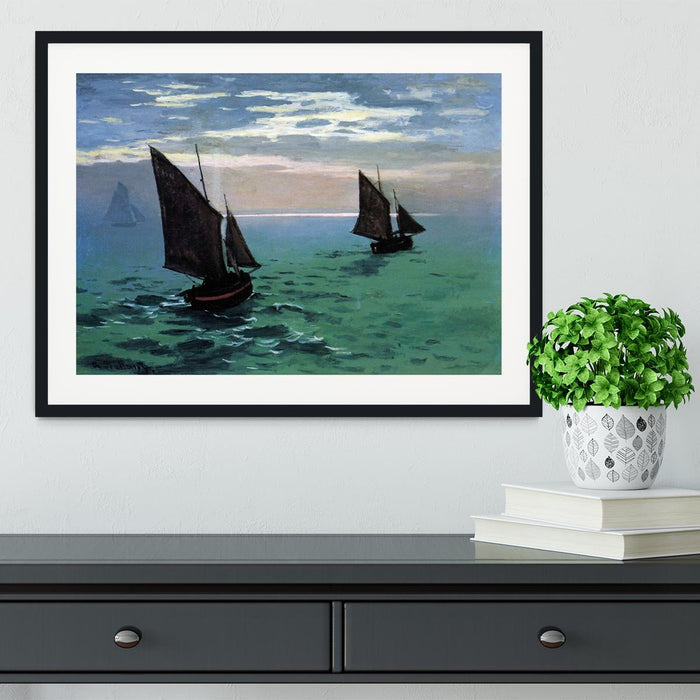 Le Havre exit the fishing boats from the port by Monet Framed Print