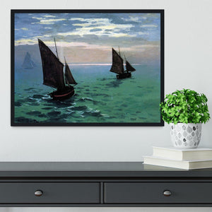 Le Havre exit the fishing boats from the port by Monet Framed Print - Canvas Art Rocks - 2