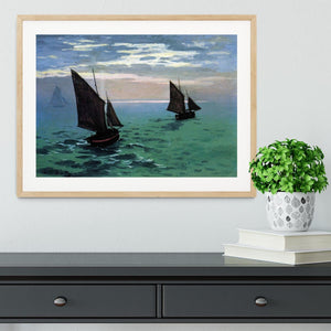 Le Havre exit the fishing boats from the port by Monet Framed Print - Canvas Art Rocks - 3