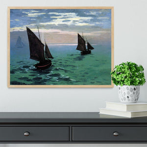 Le Havre exit the fishing boats from the port by Monet Framed Print - Canvas Art Rocks - 4