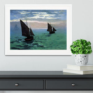 Le Havre exit the fishing boats from the port by Monet Framed Print - Canvas Art Rocks - 5