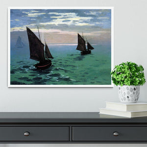 Le Havre exit the fishing boats from the port by Monet Framed Print - Canvas Art Rocks -6