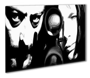 Leon black and white Outdoor Metal Print - Canvas Art Rocks - 1