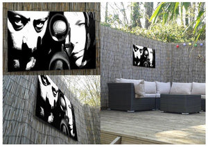 Leon black and white Outdoor Metal Print - Canvas Art Rocks - 2