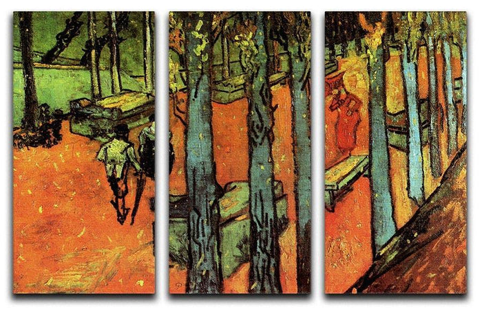 Les Alyscamps Falling Autumn Leaves by Van Gogh 3 Split Panel Canvas Print