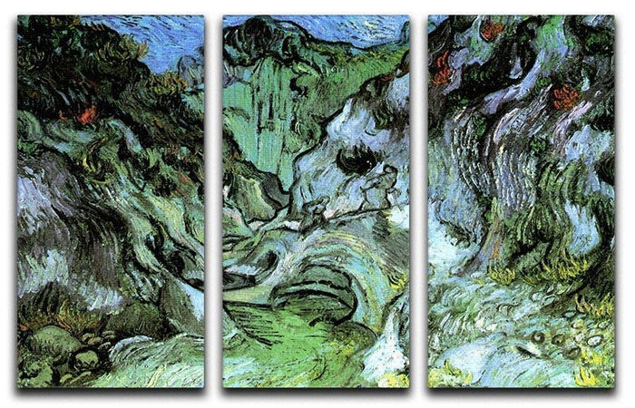 Les Peiroulets Ravine 2 by Van Gogh 3 Split Panel Canvas Print