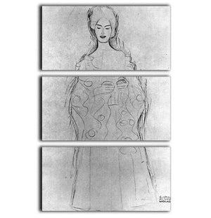Lesendes girls II by Klimt 3 Split Panel Canvas Print - Canvas Art Rocks - 1