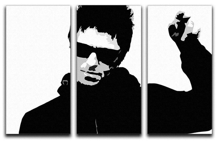 Liam Gallagher Black and White 3 Split Panel Canvas Print