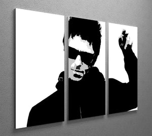 Liam Gallagher Black and White 3 Split Panel Canvas Print - Canvas Art Rocks - 2