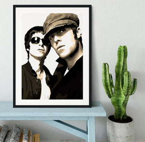 Liam and Noel Gallagher Oasis Framed Print - Canvas Art Rocks - 1
