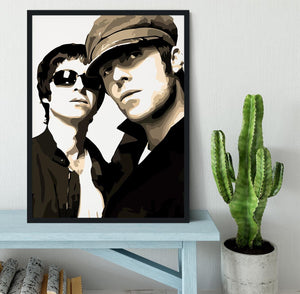 Liam and Noel Gallagher Oasis Framed Print - Canvas Art Rocks - 2