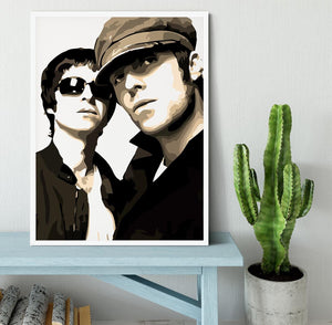Liam and Noel Gallagher Oasis Framed Print - Canvas Art Rocks -6