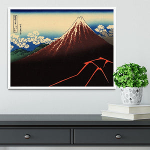 Lightning below the summit by Hokusai Framed Print - Canvas Art Rocks -6