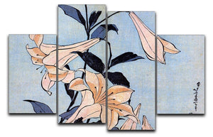 Lilies by Hokusai 4 Split Panel Canvas  - Canvas Art Rocks - 1