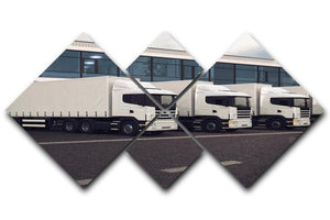 Line of white lorries 4 Square Multi Panel Canvas  - Canvas Art Rocks - 1