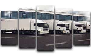 Line of white lorries 5 Split Panel Canvas  - Canvas Art Rocks - 1