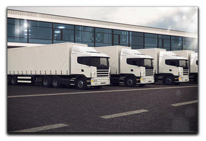 Line of white lorries Canvas Print or Poster  - Canvas Art Rocks - 1