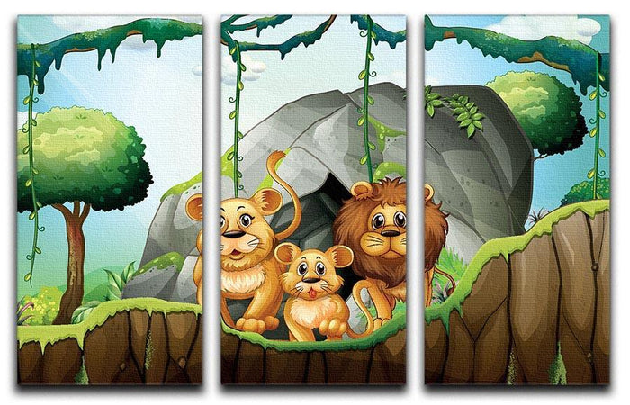 Lion family living in the jungle 3 Split Panel Canvas Print