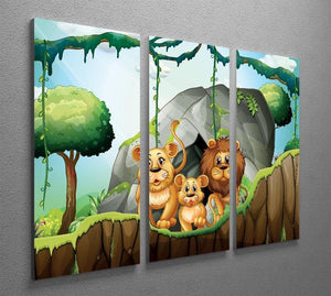 Lion family living in the jungle 3 Split Panel Canvas Print - Canvas Art Rocks - 2