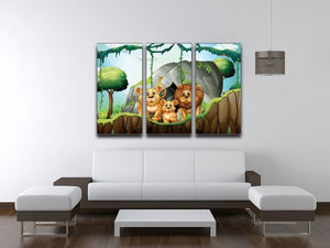 Lion family living in the jungle 3 Split Panel Canvas Print - Canvas Art Rocks - 3