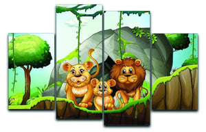 Lion family living in the jungle 4 Split Panel Canvas  - Canvas Art Rocks - 1