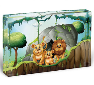 Lion family living in the jungle Acrylic Block - Canvas Art Rocks - 1
