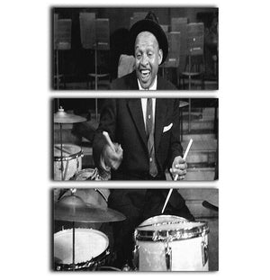 Lionel Hampton on the drums 3 Split Panel Canvas Print - Canvas Art Rocks - 1