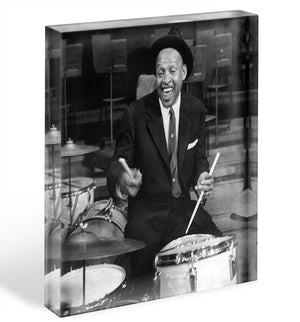 Lionel Hampton on the drums Acrylic Block - Canvas Art Rocks - 1